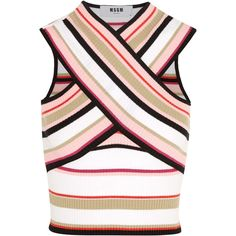 MSGM Cropped striped cotton-blend top (£170) ❤ liked on Polyvore featuring tops, msgm, crop top, pink, pink crop top, crochet top, pink top, strappy top and surplice wrap top