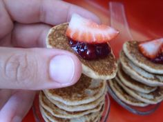 Easy finger food pancakes, healthier with jam instead of syrup, easier for on the go and kids small hands.