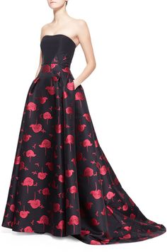 Carolina Herrera Bee & Floral Jacquard Strapless Ball Gown on shopstyle.com