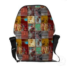 Grunge Mixed Black Rickshaw Messenger Bag