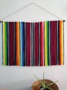 Mazatlan Mexican Serape Yarn Wall Hanging in Wine Red