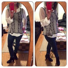 Today's ootd is Constellation Skinny jeans with Allure Blouse (one of CAbi's top sellers this Fall) under the Peplum Shell - great girly tips to balance the splatter or dare I say acid washness of the jeans....I don't normally like to repeat trends from my youth but I love these jeans!! And I just dated myself