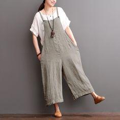 Cotton Linen Sen Department Causel Loose Overalls Big Pocket Trousers Women Clothes