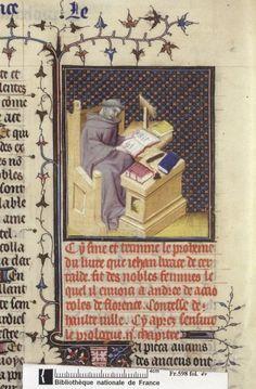 Boccaccio at work. From Boccacio, de mulieribus claris/Le livre de femmes nobles et renomées (trad. anonyme), early 15C French (Paris). Bibliothèque nationale, Paris. MS Français 598, fol. 4v