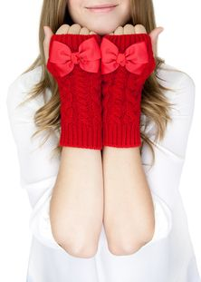 Cable Knit Bow Gloves - Roozt