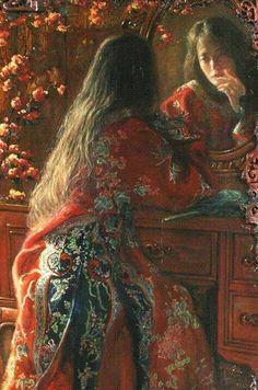 George Tsui Looking in the Mirror, oil on canvas George Tsui Looking in the Mirror, Öl auf Leinwand Renaissance Kunst, Classical Art, Fine Art, Old Art, Pretty Art, Aesthetic Art, Asian Art, Oeuvre D'art, Art Inspo