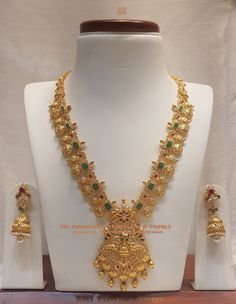 Ram parivar mango Long Harram with laxmiji locket studded with Square Emeralds and nakshi gold balls in 22kt BIS Hallmark gold.Visit  store for more exquisite collection or Call /Whatsapp  on +91 9100592011 for details. 27 February 2019