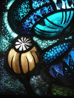"""""""Poppy Seeds"""" painted, fired and leaded stained glass panel by Nicola Kantorowicz, Reading, UK"""