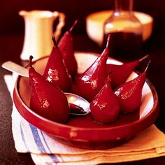 pears slowly baked in red wine