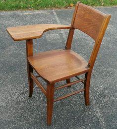 Vintage Student Desk - Home Furniture Design Student Desks, School Desks, Table Pc, Home Furniture, Furniture Design, Oak Desk, Desk Chair, College Students, Chair Design