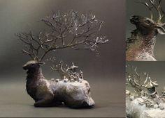 Snowy Elk original OOAK sculpture by creaturesfromel on Etsy, $525.00