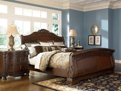 Wynwood Granada Cherry Queen Size Sleigh Wood Bed Bedroom Furniture Beds And