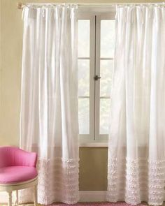 tiny ruffle stripes. white curtains