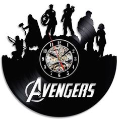 Marvel Avengers Wall Clock Modern Design Vintage Retro Style Classic Clocks Vinyl Record Wall Watch Home Decor Silent 12 Inch Vinyl Record Art, Record Clock, Record Wall, Vinyl Records, Marvel Wall Art, Avengers Bedroom, Family Tree Wall Sticker, Wall Watch, Classic Clocks