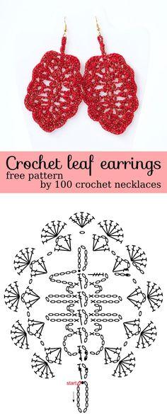 Crochet earrings pattern Leaf  earrings DIY tutorial #earrings #jewelry #crochet #pattern #diy #statement #drop #dangle