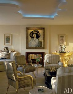 Happy Rockefeller's Fifth Avenue apartment, where the interior designer, Albert Hadley, used Giacometti and Jean-Michel Frank furnishings commissioned by Nelson Rockefeller in the late Living Room Designs, Living Spaces, Living Rooms, Family Rooms, Albert Hadley, American Interior, Interior Decorating, Interior Design, Decorating Ideas