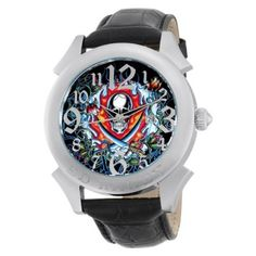 Relógio Ed Hardy Men's RE-FS Revolution Flaming Skull Stainless Steel 316L Watch #Relogio #EdHardy
