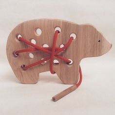 Wooden Lacing Toy Gifts for Kids Wood bear toy by LalkaStorePl