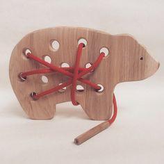 Hölzerne Schnürung Spielzeug-Geschenke für Kinder Holz tragen Spielzeug Montessori-Materialien-Kinder-lernen-Weihnachts-Geschenk