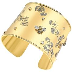 Theo Fennell Diamond Gold Bee and Cherry Blossom Scatter Cuff Bangle Bracelet | From a unique collection of vintage cuff bracelets at https://www.1stdibs.com/jewelry/bracelets/cuff-bracelets/