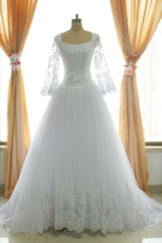 2015 real image vintage winter long sleeve wedding dresses sheer appliques tulle lace plus size bridal gowns with zipper back SU36