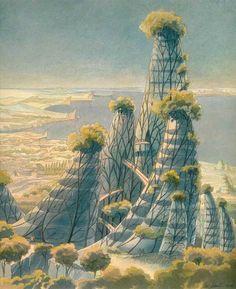 Vegetal futuristic cities by Belgian architect Luc Schuiten Green Architecture, Futuristic Architecture, Land Art, Eco City, Futuristic City, Science Fiction Art, Future City, Sci Fi Art, Gaia