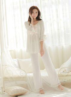 87227acd48 Free Shipping Princess Women s White Pajamas Pants Set Lace Decoration Sleepwear  pijamas femininos verao Cotton Sleepwear