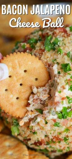 Bacon Jalapeño Cheese Ball recipe is easy to make and a hit at every party. A creamy base is loaded with crispy smokey bacon, spicy jalapenos and sharp cheddar for a perfect party snack. Cheese Ball Recipes, Appetizer Recipes, Cheese Ball Recipe With Bacon, Appetizer Ideas, Potato Recipes, Easy Cheeseball, Cream Cheese Ball, Jalapeno Cheese, Jalapeno Poppers