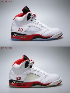 A visual comparison between the 2006 and 2013 fire red 5s.