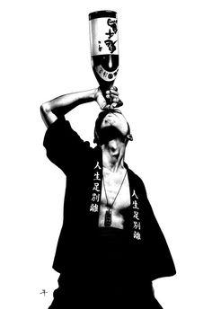 Amazing illustrations from Shohei Otomo aka Hakuchi, japanese artist. In his illustrations, Otomo, adds the taste for the traditional japanese art with manga Japanese Pop Art, Japanese Artists, Japanese Punk, Art Pop, Arte Punk, Blog Art, Comics Illustration, Katsuhiro Otomo, Tachisme