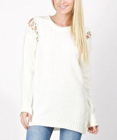 Another great find on #zulily! White Lattice-Shoulder Sweater #zulilyfinds
