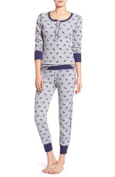 Jane & Bleecker New York Print Thermal Pajamas available at #Nordstrom