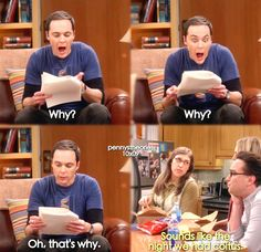 """Why? Oh, that's why"" - Sheldon, Amy and Leonard #TheBigBangTheory (by pennystheories)"