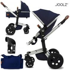 Joolz Day Earth Edition Pushchair with carrycot, nursery bag and cup holder - parrot blue