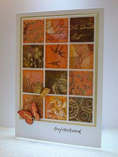 handmade card with an inchie grid ... gorgeous printed paper scraps in rich fall colors ... luv it!