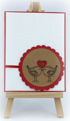 fizzi~jayne makes.... Love Birds with Hearts, Handmade Valentine's Card available from http://folksy.com/shops/FizziJayne