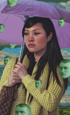 """Umbrella"" by Alex Gross, oil on panel. I really want to pin everything he makes because his art is so incredible. Basically you should just check out his website."