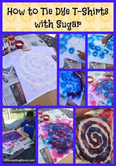 How to Tie Dye T-Shirts with Sugar! An easy non toxic way to tie dye! #summer #DixieCrystals