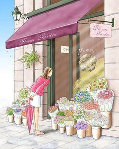 at the flowershop . . #illustration #yalzza #yunjinkyung #photoshopped #flowers #flowershop #일러스트 #일러스트레이터_윤진경 #얄짜 #꽃 #플라워샵 #비갠후