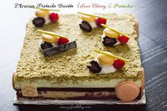 This cake was specially made for a friend's birthday, who specifically wanted this cake so much! I think she fell in love with this rich and flavorful cake when I treated her a piece during my first trial.  This cake consisted of four components: sour cherry sponge cake, tart and tangy sour cherry sauce, creamy pistachio mousse,  and the buttery nutty pistachio crumbles on top. I added some chopped dried cherries into the sponge cake for texture. With Valrhona ivoire couverture added to…