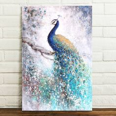 Canvas Animals Peacock Prints Home Decor Wall Modern Art Pictures Abstract Peacock Canvas, Peacock Wall Art, Peacock Painting, Peacock Room, Modern Art Pictures, Wall Art Pictures, Pictures To Paint, Feng Shui, Canvas Wall Art