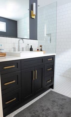 Black in the master? Black Bathroom Vanity with Gold Hardware, Vintage, Bathroom, Oliver and Simon Design Black And Gold Bathroom, Black Vanity Bathroom, Bathroom Vanity Designs, Black Cabinets Bathroom, Bathroom Hardware, Bathroom Furniture, Bathroom Interior, Modern Bathroom, Bathroom Canvas