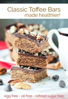 Classic toffee bars reinvented with no butter, no oil, no eggs, and no refined sugar. These are delightfully dense and chewy, dairy free bars that have that classic toffee flavor thanks to pecan butte Vegan Sweets, Vegan Desserts, Dessert Recipes, Dessert Bars, Vegan Recipes, Vegan Food, Vegan Baking, Food Food, Vegan Cake