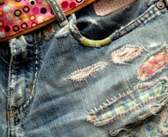 The holes in my jeans are a little out of control...I want to do something like this.