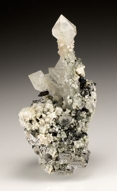 Quartz with Calcite, Arsenopyrite