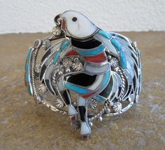 ZUNI INLAY CUFF EAGLE DANCER TURQUOISE CORAL MOP STERLING SILVER Bracelet