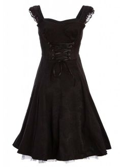 Black Brocade 50s PinUp Rockabilly Retro Dress with Black Lace- $49.90
