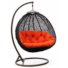Estella - Dual Sitting Outdoor Wicker Swing Chair/ Porch Hanging Chair - DL024BK: Amazon.com: Home & Kitchen