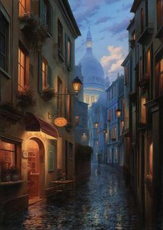 The top photos and paintings are of Montmartre in typical street scenes of Paris in the A narrow street in Montmartre, The . Environment Concept Art, Environment Design, Fantasy World, Fantasy Art, Art Et Illustration, Wow Art, Fantasy Landscape, City Landscape, Environmental Art