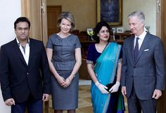Queen Mathilde and King Philippe welcome Nidhi Chaphekar an Indian airline Jet Airways staff who survived the Brussels attacks and whose picture became an iconic image and made front pages around the world, and her husband Rupesh at the Royal Palace in Brussels. Chaphekar a Jet Airways attendant and mother of two from Mumbai is one of the victims of the attacks on Brussels airport on March 22, 2016.